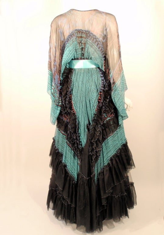 Zandra Rhodes 3 pc Black & Blue Print Gown, Underskirt, Sash 4