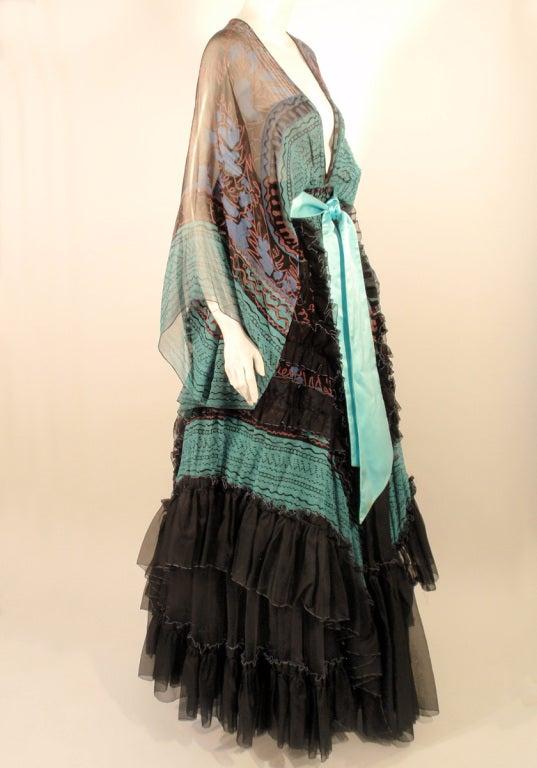 Zandra Rhodes 3 pc Black & Blue Print Gown, Underskirt, Sash 5