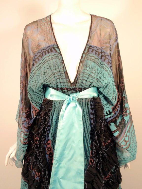Zandra Rhodes 3 pc Black & Blue Print Gown, Underskirt, Sash 6