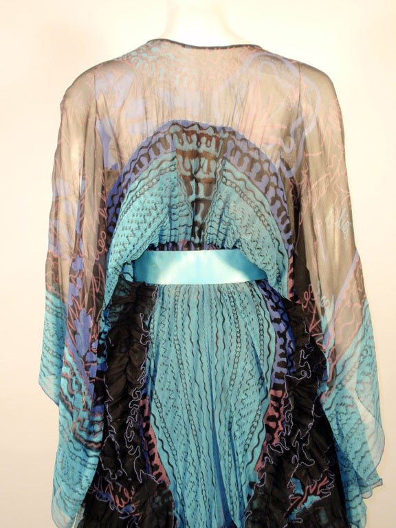 Zandra Rhodes 3 pc Black & Blue Print Gown, Underskirt, Sash 7