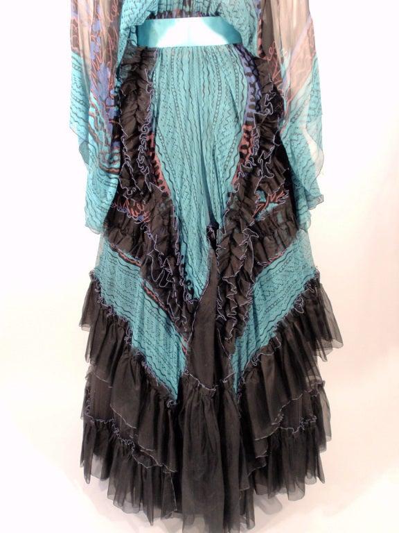 Zandra Rhodes 3 pc Black & Blue Print Gown, Underskirt, Sash 8