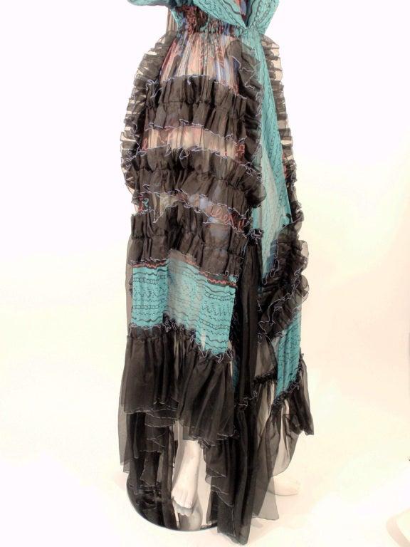 Zandra Rhodes 3 pc Black & Blue Print Gown, Underskirt, Sash 9