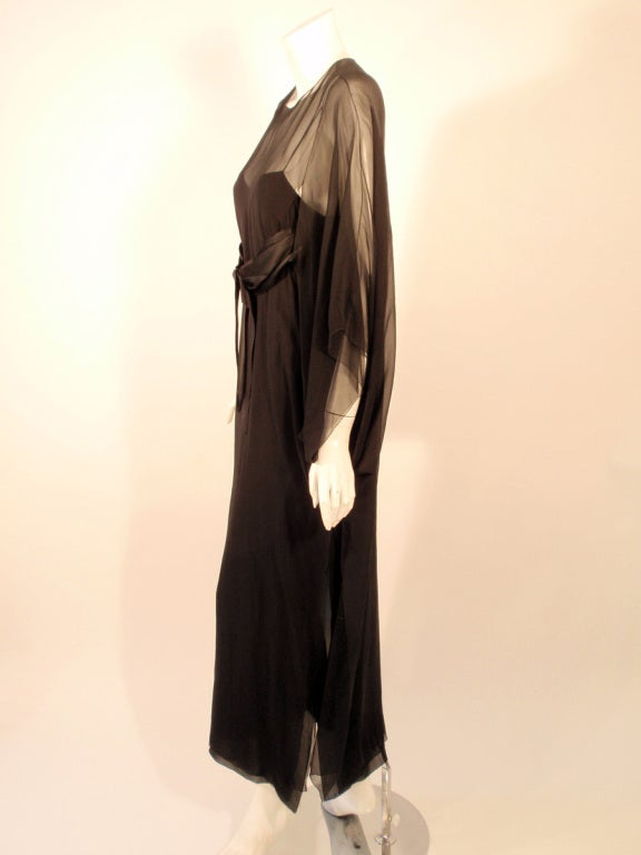 Jacqueline de ribes black silk chiffon slip dress w for Caftan avec satin de chaise