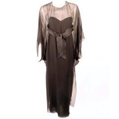Jacqueline de Ribes Black Silk Chiffon Slip Dress w/ Caftan