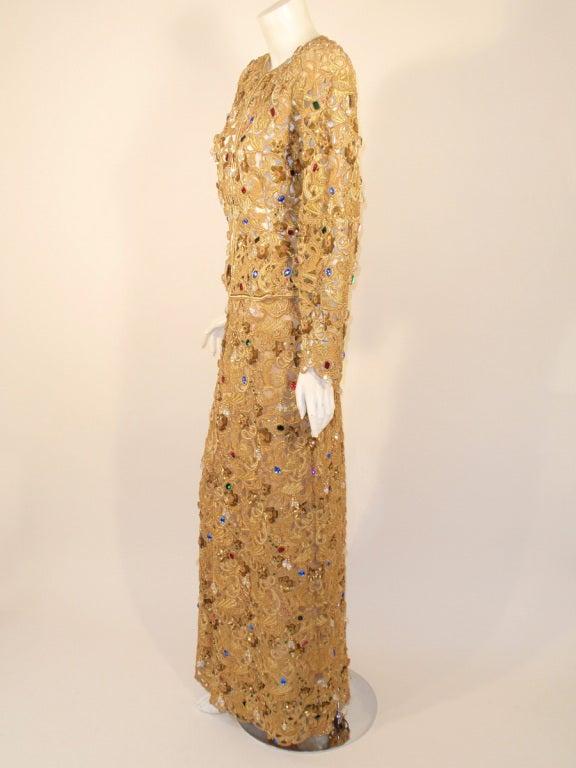Oscar de la Renta 2 pc Gold & Jeweled Long Skirt and Jacket 4