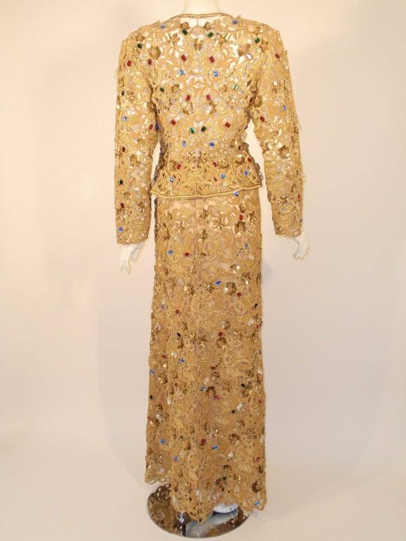 Oscar de la Renta 2 pc Gold & Jeweled Long Skirt and Jacket 5