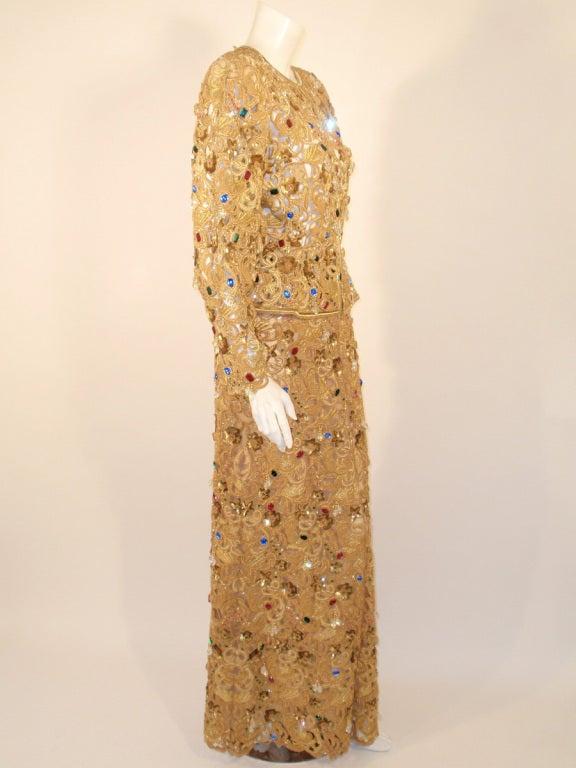 Oscar de la Renta 2 pc Gold & Jeweled Long Skirt and Jacket 6