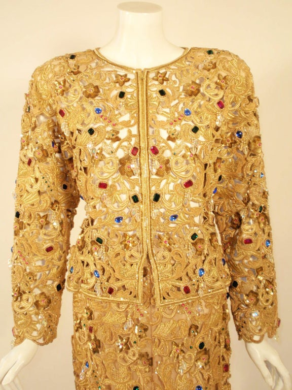 Oscar de la Renta 2 pc Gold & Jeweled Long Skirt and Jacket 7