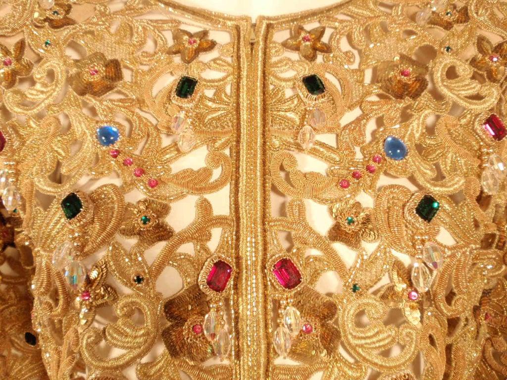 Oscar de la Renta 2 pc Gold & Jeweled Long Skirt and Jacket 8