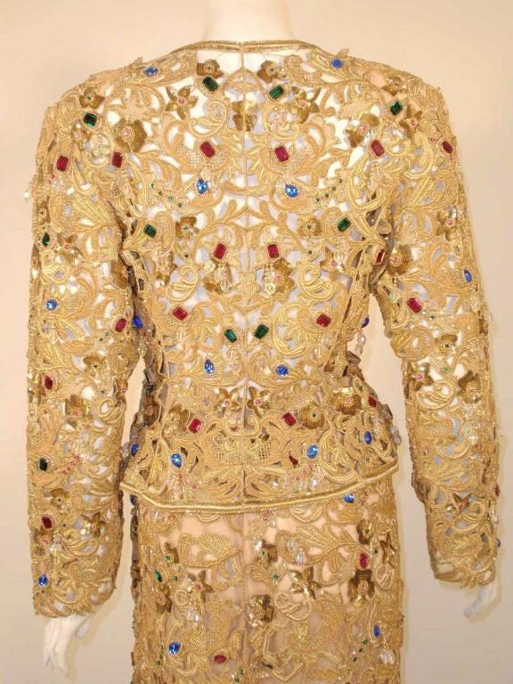 Oscar de la Renta 2 pc Gold & Jeweled Long Skirt and Jacket 9