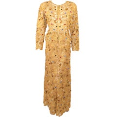 Oscar de la Renta 2 pc Gold & Jeweled Long Skirt and Jacket