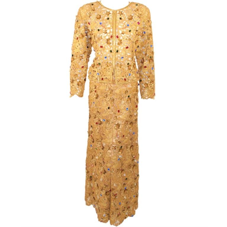 Oscar de la Renta 2 pc Gold & Jeweled Long Skirt and Jacket 1