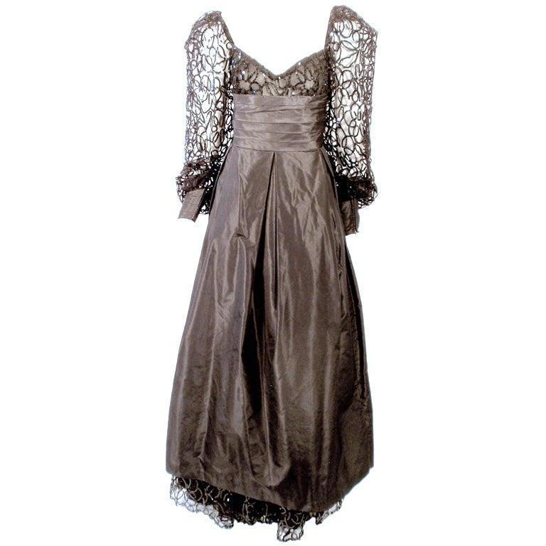 1980's Loris Azzaro Black Taffeta Gown w. Sculpted Lace Sequin Sleeves & Hem