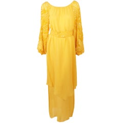 Rety Paris 1970's 2 Pc. Yellow Chiffon Evening Gown w/ Sequin Sleeves, Belt