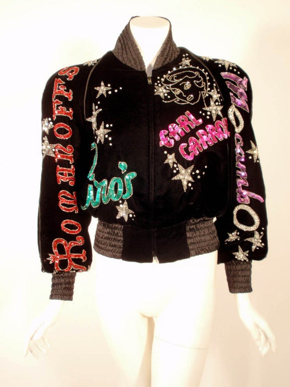 Bob Mackie Black Velvet Bomber Jacket, Sequin & Beaded, 1980s 4