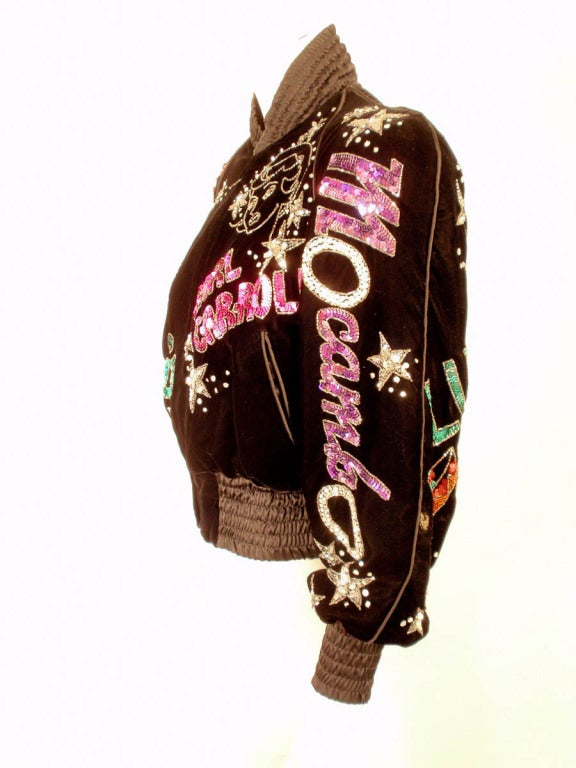 Bob Mackie Black Velvet Bomber Jacket, Sequin & Beaded, 1980s 5