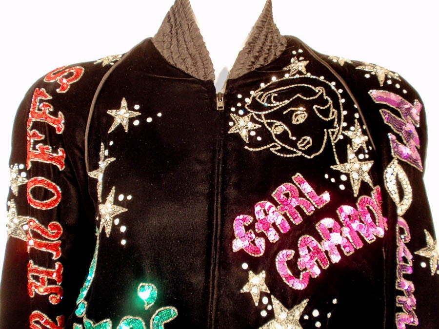 Bob Mackie Black Velvet Bomber Jacket, Sequin & Beaded, 1980s 8