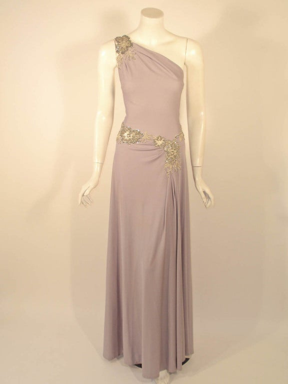 Lovely Lilac Spaghetti Strap One-Shoulder Gown hand finished beaded lace detail 2