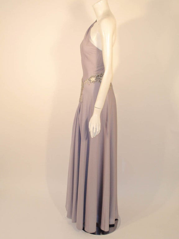 Lovely Lilac Spaghetti Strap One-Shoulder Gown hand finished beaded lace detail 4
