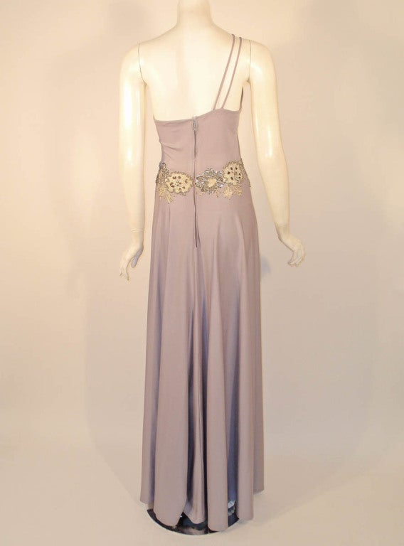 Lovely Lilac Spaghetti Strap One-Shoulder Gown hand finished beaded lace detail 5