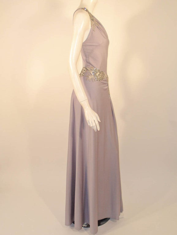 Lovely Lilac Spaghetti Strap One-Shoulder Gown hand finished beaded lace detail 6