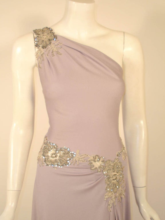 Lovely Lilac Spaghetti Strap One-Shoulder Gown hand finished beaded lace detail 7