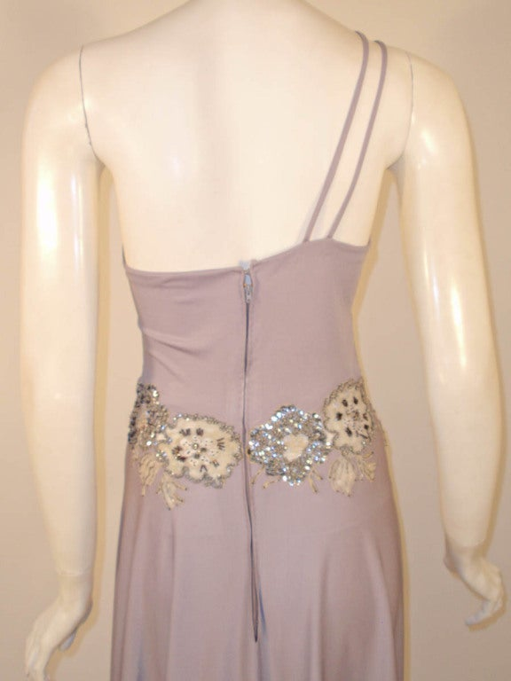 Lovely Lilac Spaghetti Strap One-Shoulder Gown hand finished beaded lace detail 8