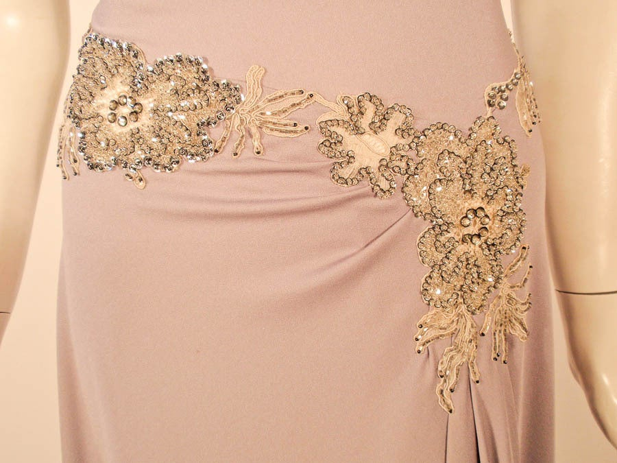 Lovely Lilac Spaghetti Strap One-Shoulder Gown hand finished beaded lace detail 9