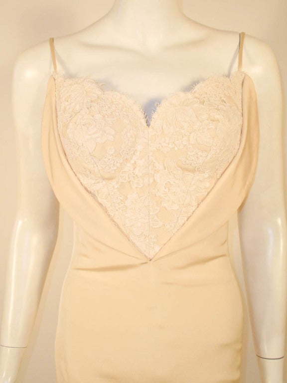 Antony Price 2 pc. Cream Gown & Fitted Jacket with Lace Details 10