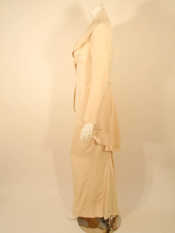 Antony Price 2 pc. Cream Gown & Fitted Jacket with Lace Details 3