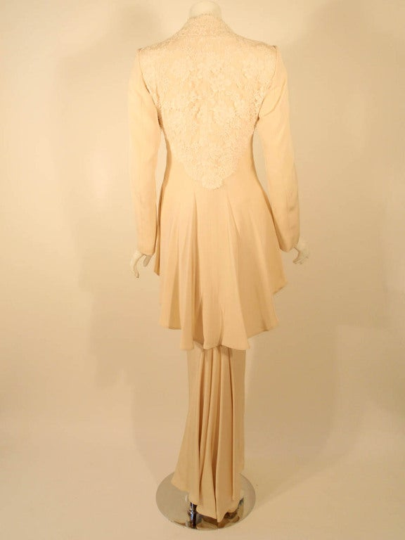 Antony Price 2 pc. Cream Gown & Fitted Jacket with Lace Details 4