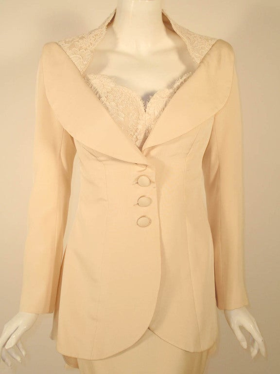 Antony Price 2 pc. Cream Gown & Fitted Jacket with Lace Details 6