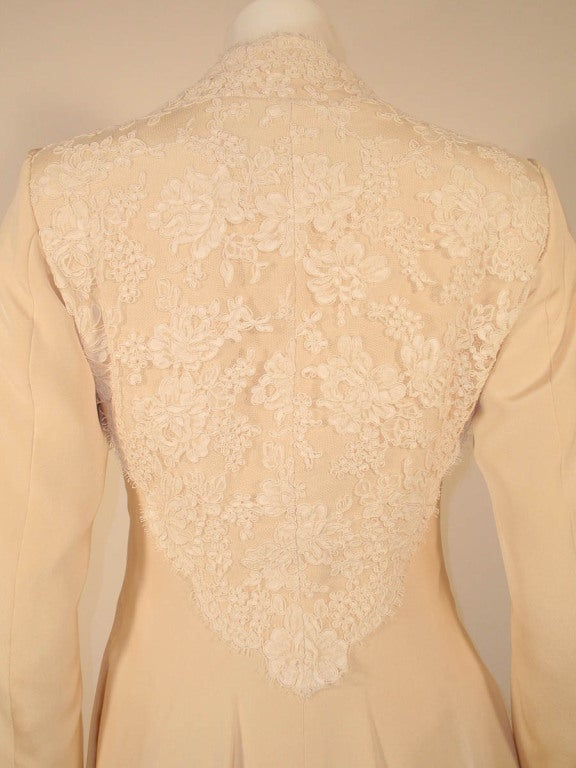 Antony Price 2 pc. Cream Gown & Fitted Jacket with Lace Details 7