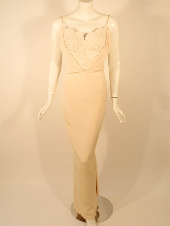 Antony Price 2 pc. Cream Gown & Fitted Jacket with Lace Details 8
