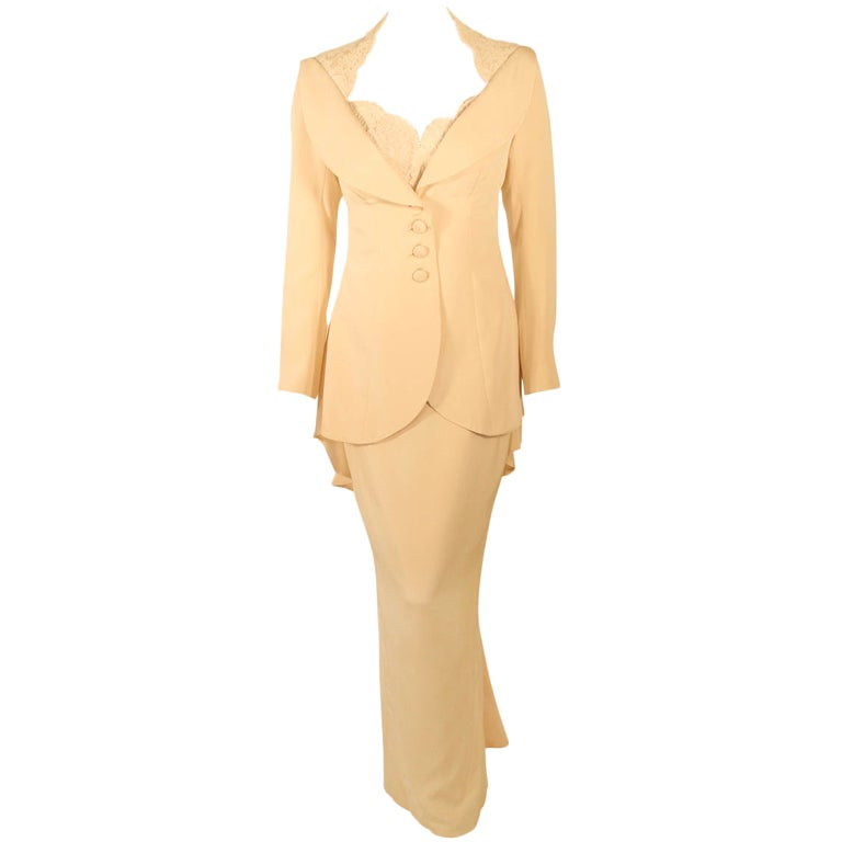 Antony Price 2 pc. Cream Gown & Fitted Jacket with Lace Details