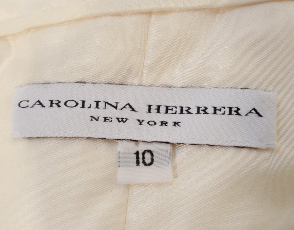 Carolina Herrera Cream Satin Strapless Wedding Gown w/ Beading 2