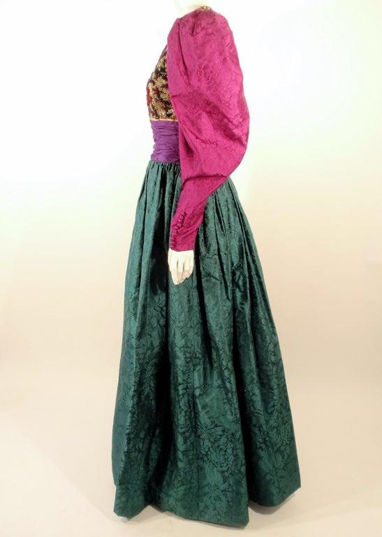 Women's Oscar de la Renta Green, Purple, Pink Gown w/ Beaded Bodice For Sale