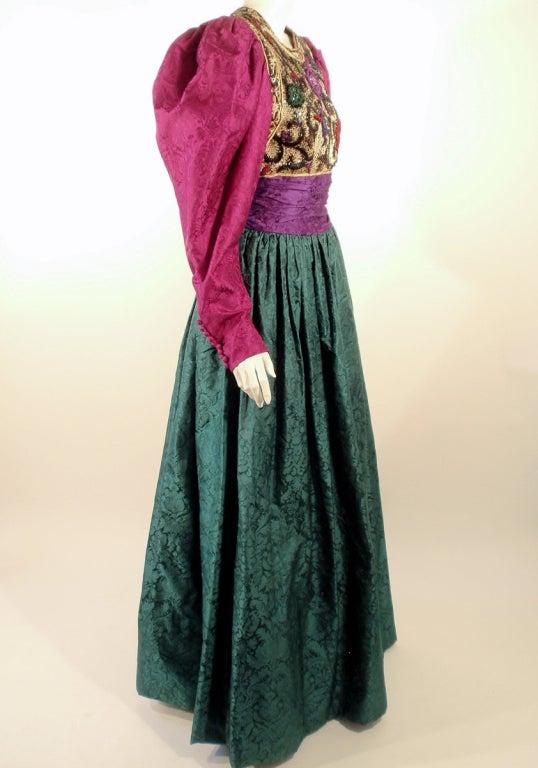 Oscar de la Renta Green, Purple, Pink Gown w/ Beaded Bodice For Sale 1