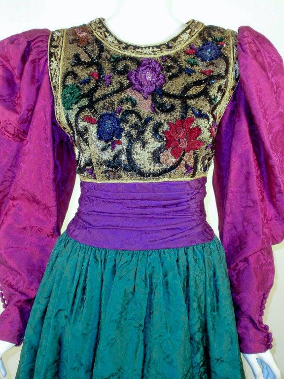 Oscar de la Renta Green, Purple, Pink Gown w/ Beaded Bodice For Sale 2
