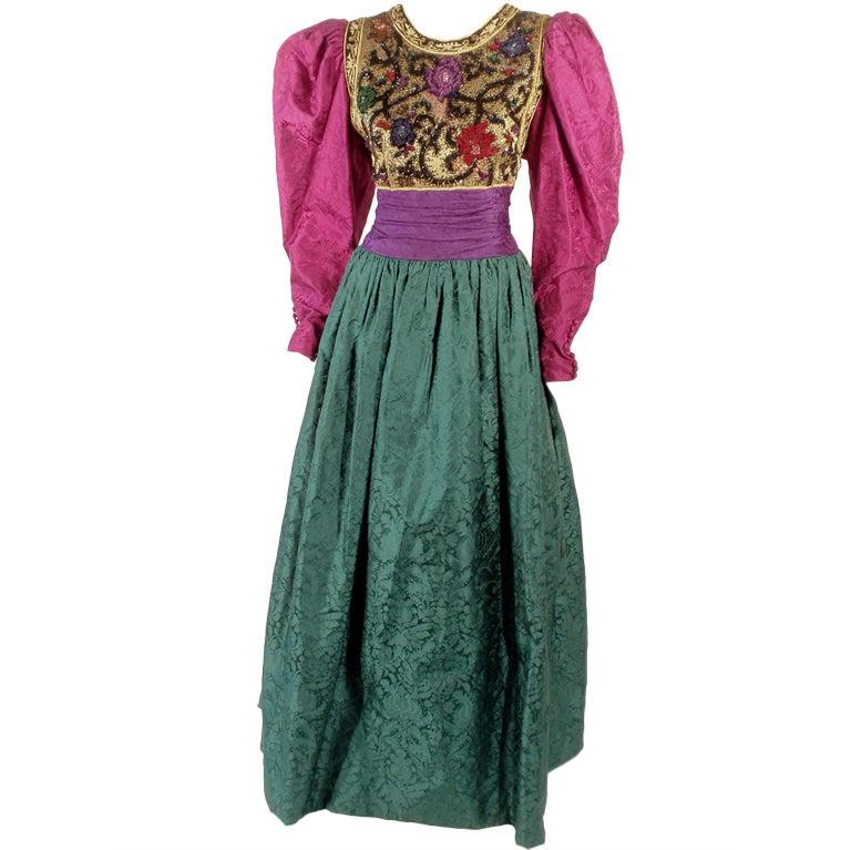 Oscar de la Renta Green, Purple, Pink Gown w/ Beaded Bodice For Sale