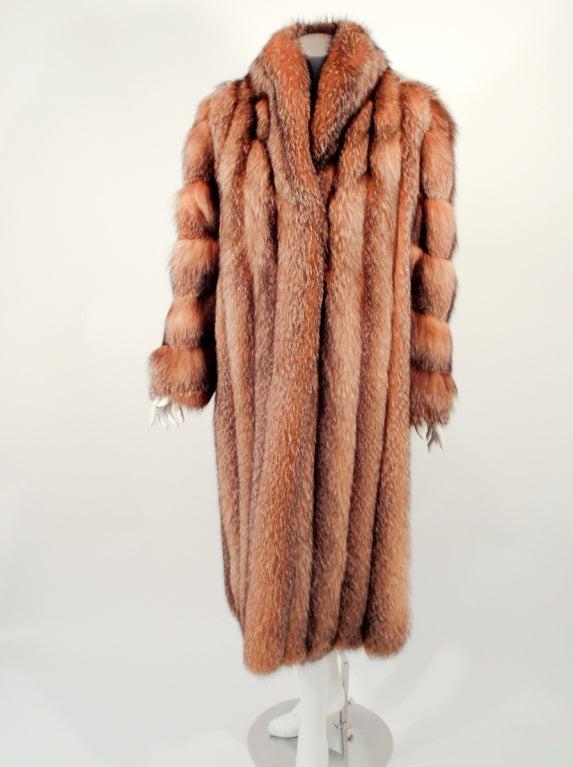 Michael Forrest Honey Brown Crystal Fox Calf length Fur Coat Collar 2