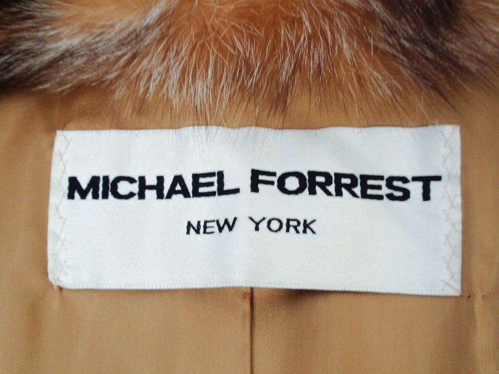 Michael Forrest Honey Brown Crystal Fox Calf length Fur Coat Collar In Excellent Condition For Sale In Los Angeles, CA