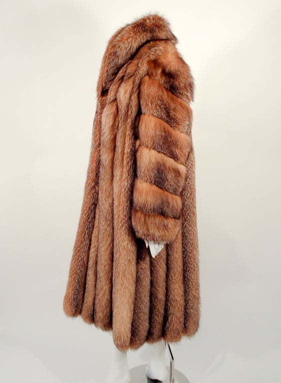 Women's Michael Forrest Honey Brown Crystal Fox Calf length Fur Coat Collar For Sale