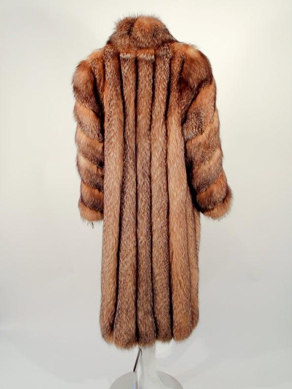 Michael Forrest Honey Brown Crystal Fox Calf length Fur Coat Collar 5