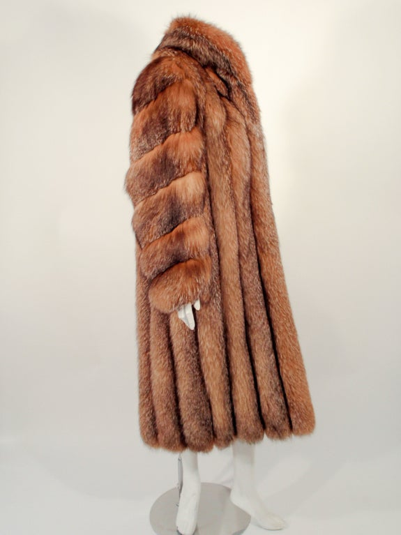 Michael Forrest Honey Brown Crystal Fox Calf length Fur Coat Collar For Sale 2