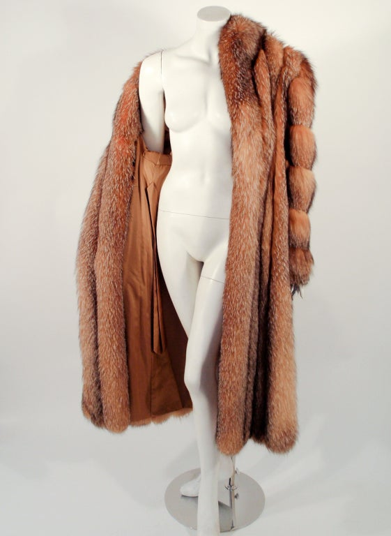 Michael Forrest Honey Brown Crystal Fox Calf length Fur Coat Collar For Sale 3