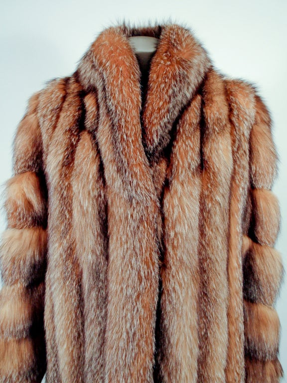 Michael Forrest Honey Brown Crystal Fox Calf length Fur Coat Collar For Sale 4