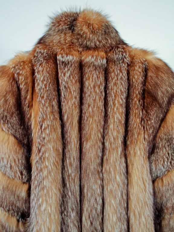 Michael Forrest Honey Brown Crystal Fox Calf length Fur Coat Collar For Sale 5