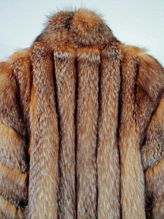 Michael Forrest Honey Brown Crystal Fox Calf length Fur Coat Collar 9