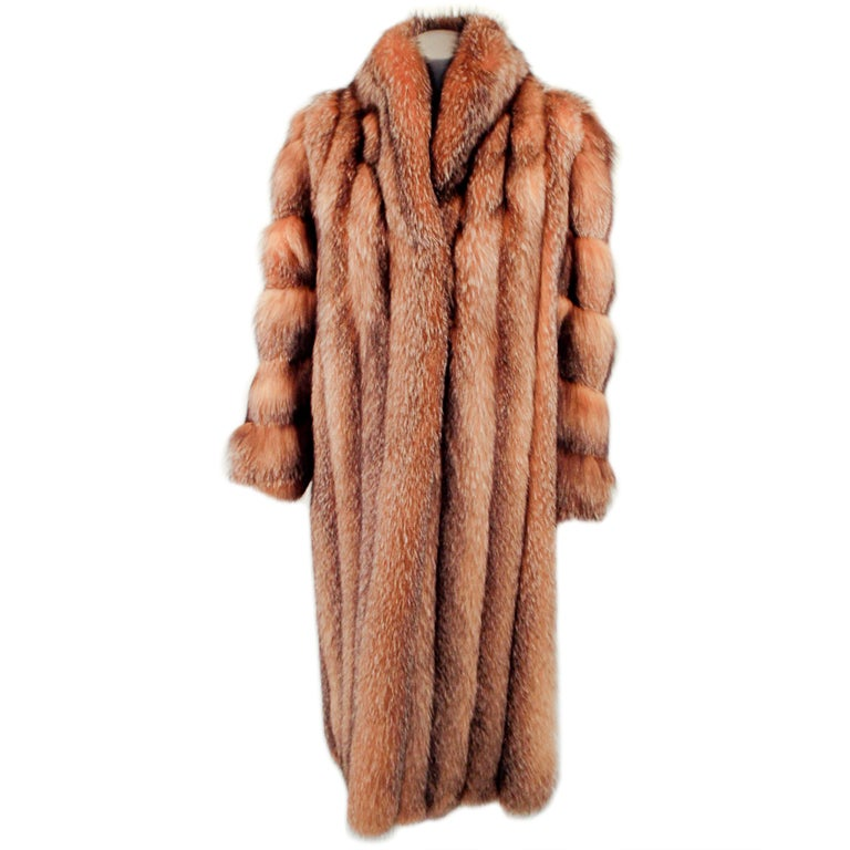 Michael Forrest Honey Brown Crystal Fox Calf length Fur Coat Collar For Sale